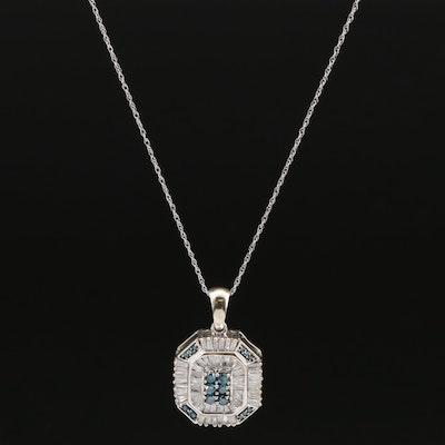 10K 1.11 CTW Diamond Pendant on 14K Singapore Necklace