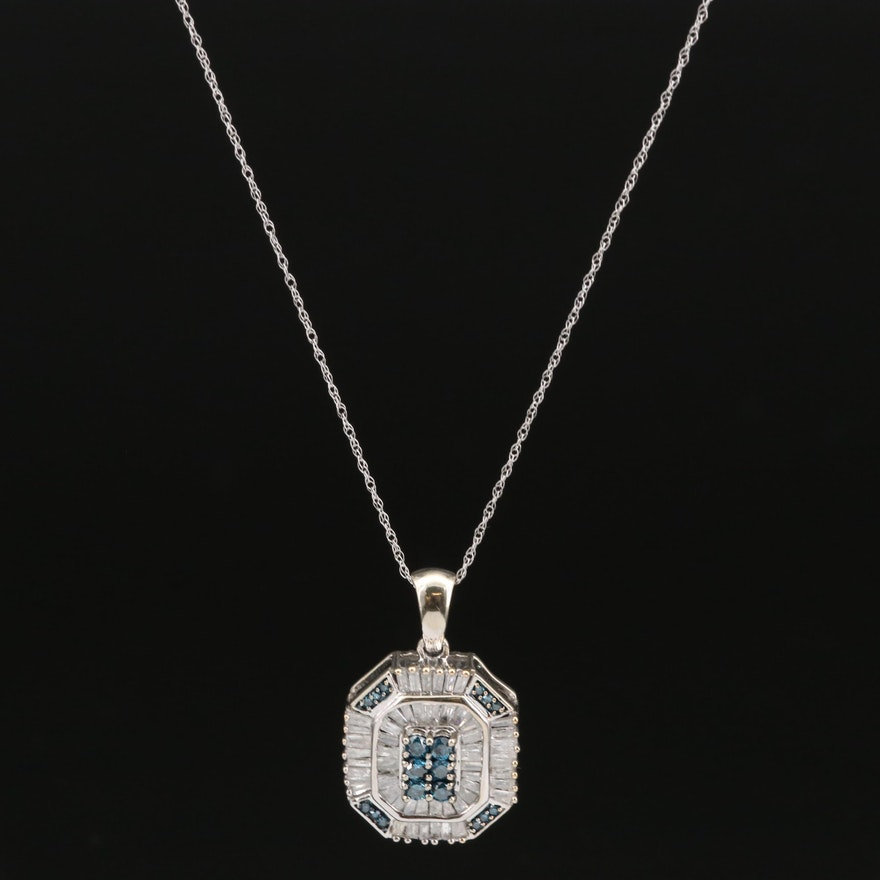 10K 1.11 CTW Diamond Pendant on 14K Singapore Necklace