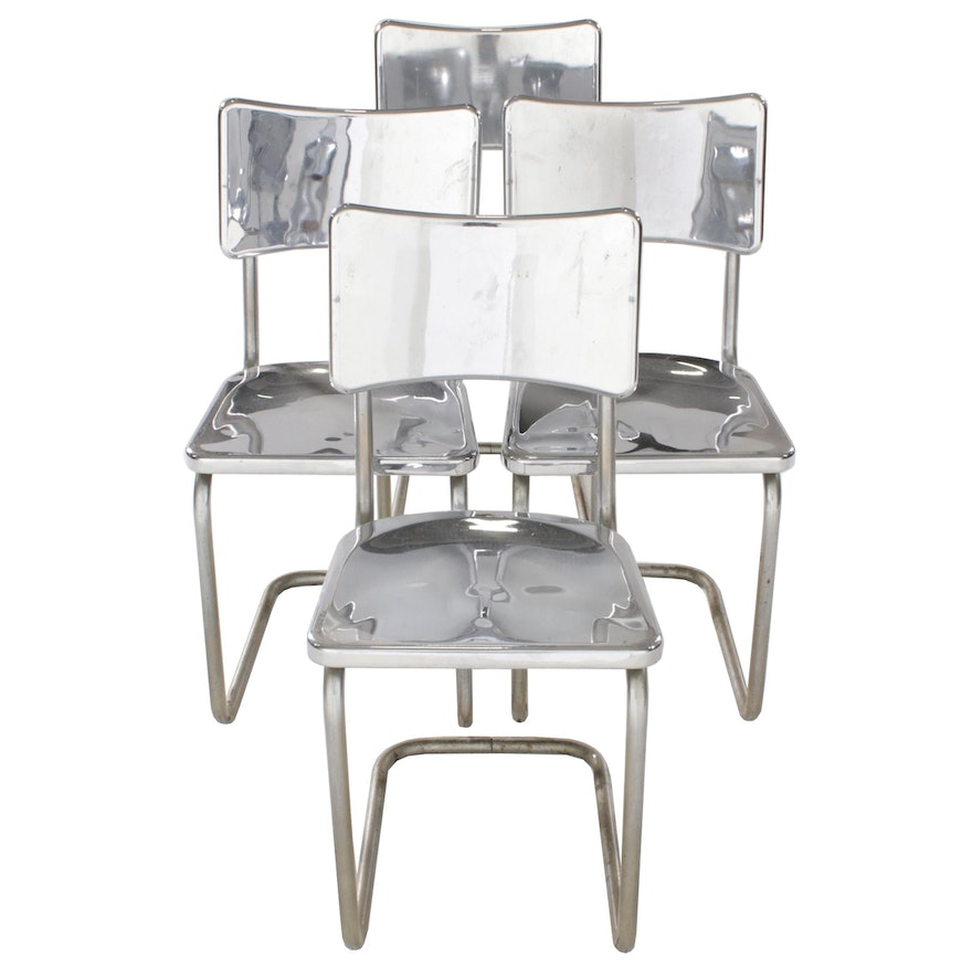 Four Bent Tube Side Chairs with Chrome Plated Seating, Mid-20th Century
