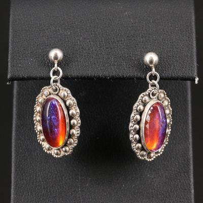 Sterling Silver Dragon's Breath Glass Dangle Earrings