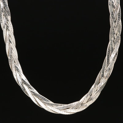 Sterling Silver Triple Braided Strand Herringbone Necklace
