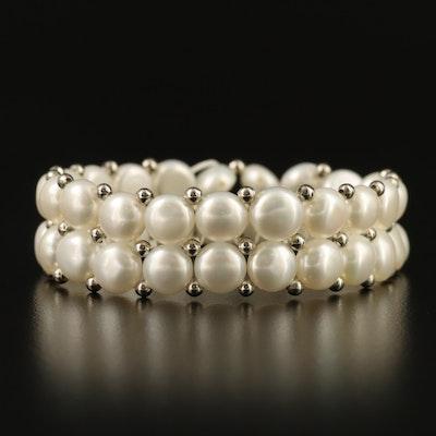 Double Strand Pearl Expandable Bracelet
