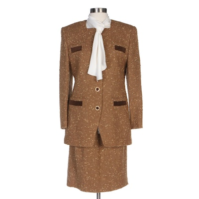 Louis Féraud Brown Tweed Skirt Suit with Jabot Collar Blouse