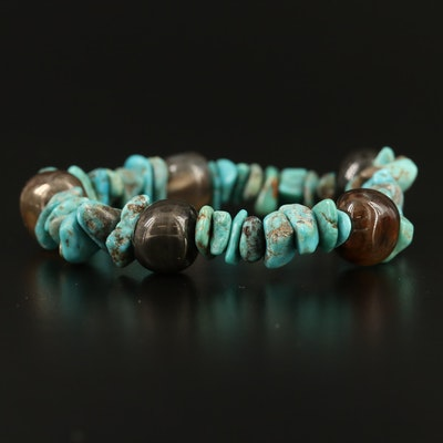 Agate and Turquoise Expandable Beaded Bracelet