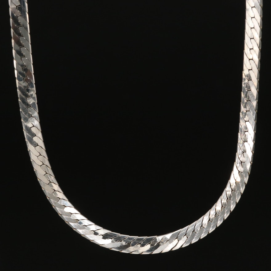 Sterling Silver Herringbone Necklace
