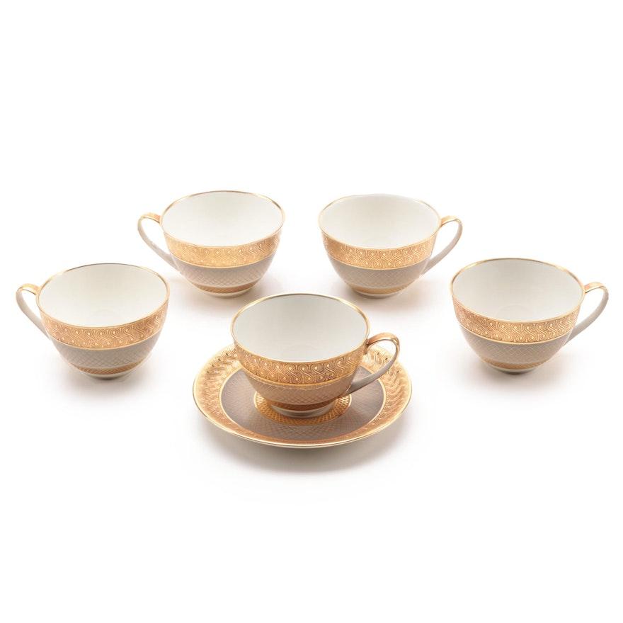 Hutschenreuther Encrusted Porcelain Teacups and Saucer, 1948–1970