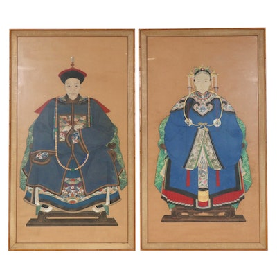 Chinese Gouache Portrait of Emperor and Empress