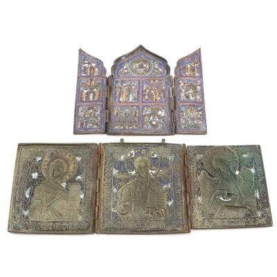 Eastern Orthodox Enamel & Brass Triptych Icons, Late 19th to Early 20th Century
