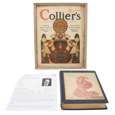 "Maxfield Parrish Illustrated ""A Golden Treasury"" with Framed ""Collier's"" Cover"