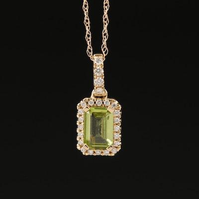 14K Peridot Necklace with Diamond Halo