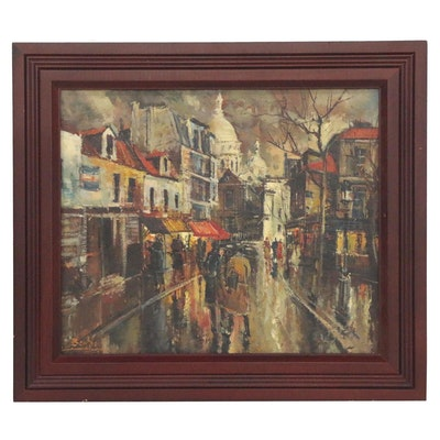 Parisian Street Scene Oil Painting, Mid 20th Century