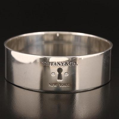 "Tiffany & Co. Sterling Silver Diamond ""Locks"" Key Hole Bangle"