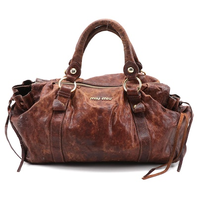 Miu Miu Distressed Brown Leather Top Handle Bag