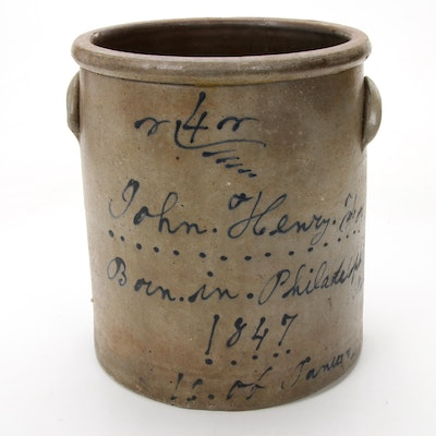 Inscribed Stoneware Crock with Decorative Handles, 1847