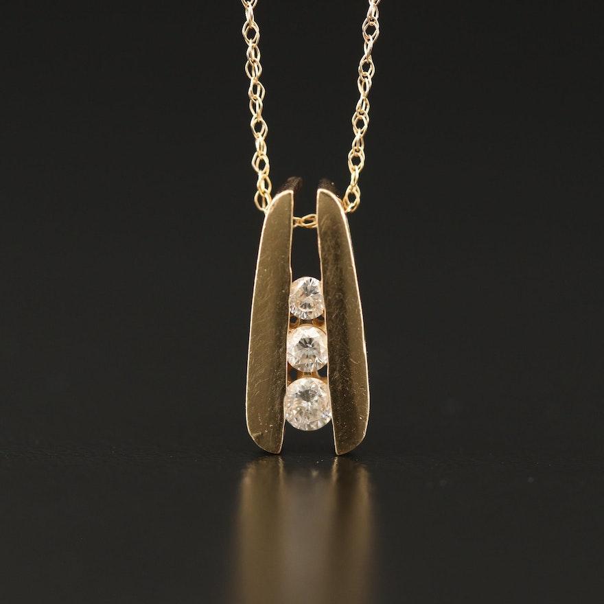 14K Graduated Diamond Necklace