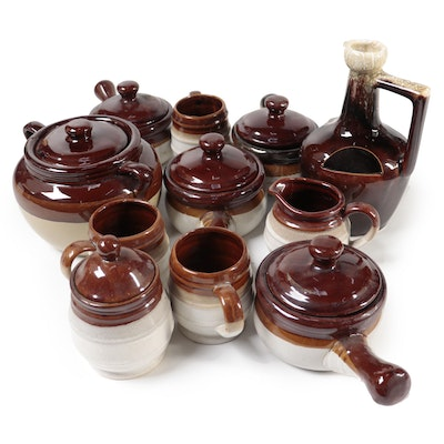 Drip Glaze Stoneware Bean Pots and Table Accessories, Late 20th Century