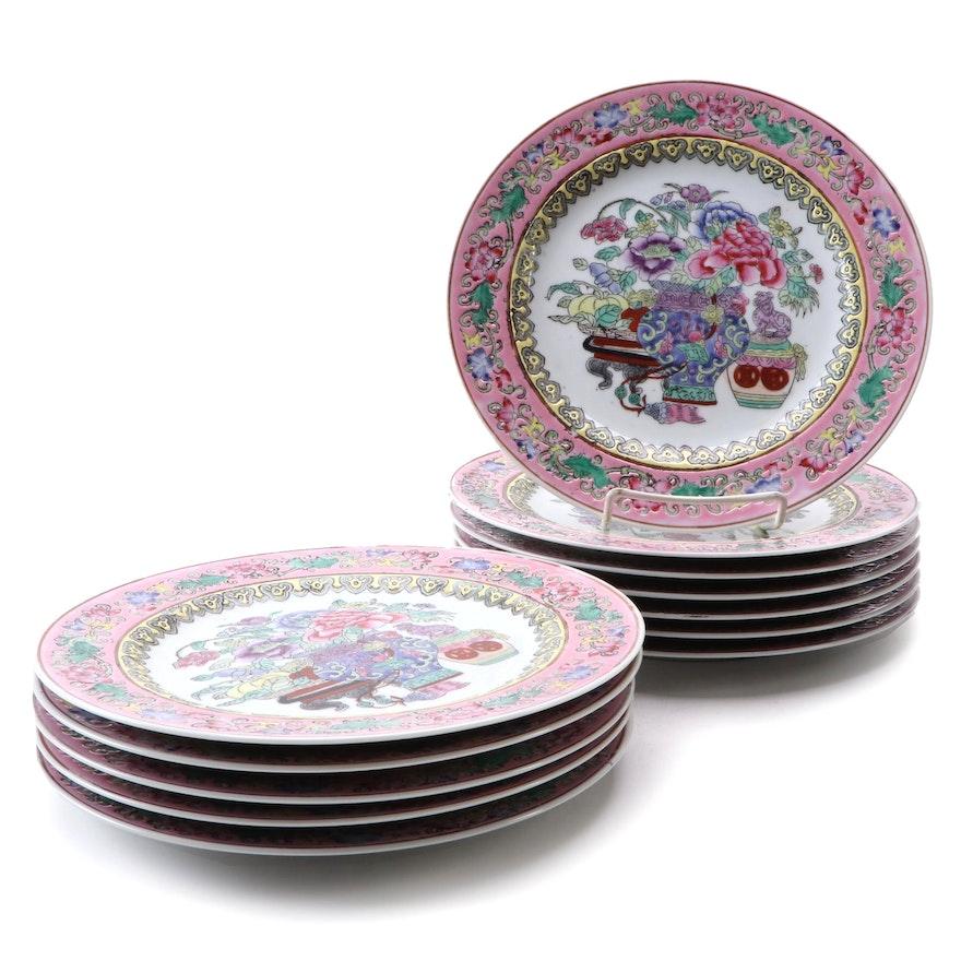 Chinese Famille Rose Porcelain Dinner Plates