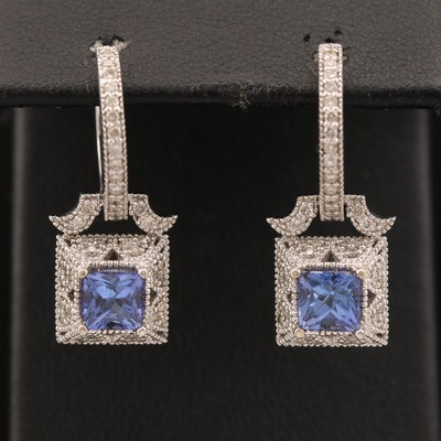14K Tanzanite Drop Huggie Earrings with Diamond Accents