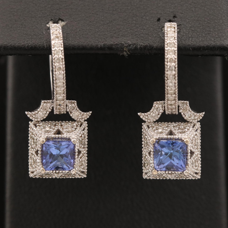 14K Tanzanite Drop Huggie Earrings with Diamond Accents