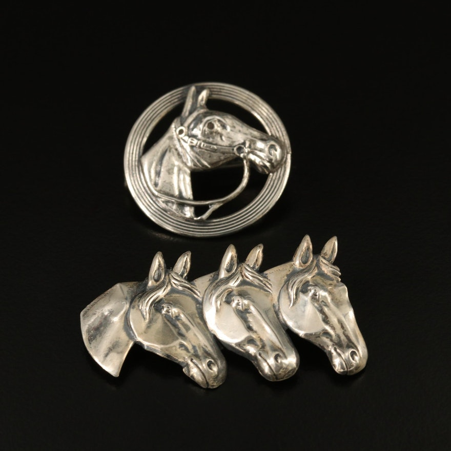 Sterling Horse Motif Brooches Featuring Beau