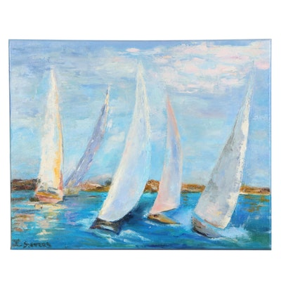 "Larissa Sievers Oil Painting ""Sailships"", 2020"