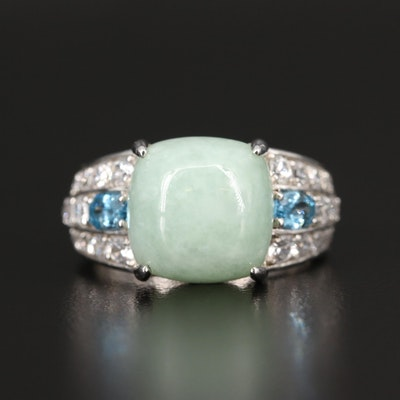 Sterling Silver Jadeite, Topaz and Zircon Ring