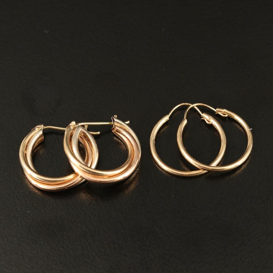 14K Hoop and Triple Twisted Hoop Earrings