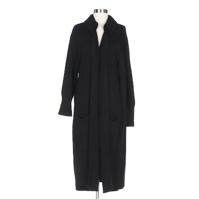 Burberry Brit Black Ribbed Knit Black Wool Blend Duster Cardigan
