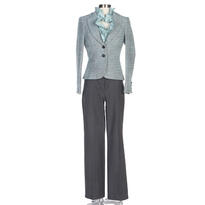Escada Seafoam Bouclé Jacket and Ruffle Blouse with Grey Twill Trousers