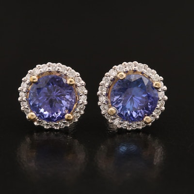 14K Tanzanite and Diamond Halo Stud Earrings