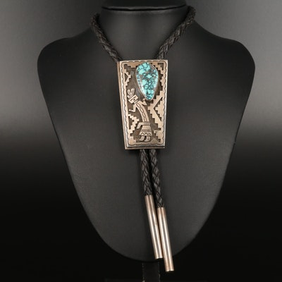 Vintage Signed Peter Nelson Navajo Diné Sterling Silver Turquoise Bolo Tie