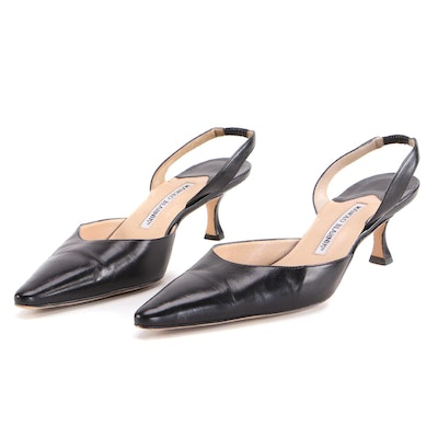 Manolo Blahnik Slingback Mules in Black Leather
