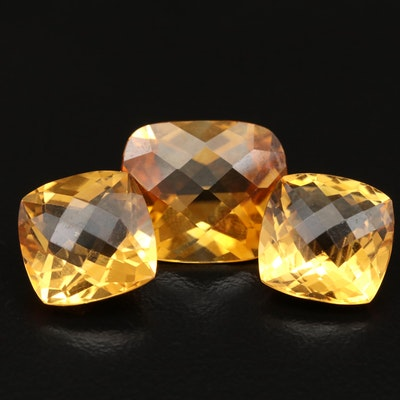Loose 17.62 CT Checkerboard Cut Citrines Including Matching Pair