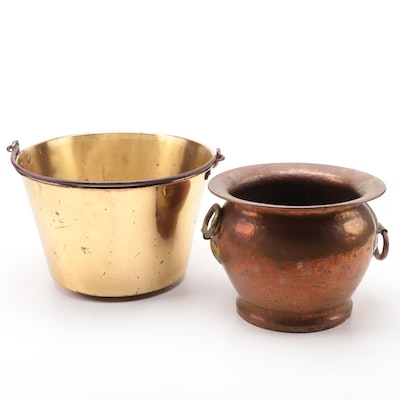 Waterbury Brass Co. Bucket and Turchin Co. Hammered Copper Planter
