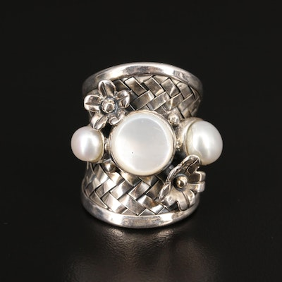 Sterling Silver Mother of Pearl, and Pearl Flower Ring