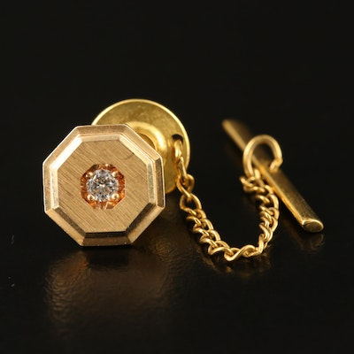 14K Diamond Tie Pin