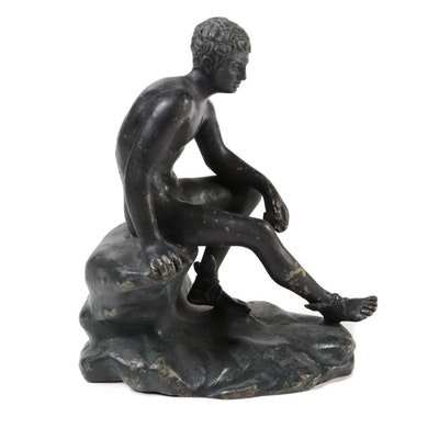 "Patinated Metal Reproduction Sculpture of ""Seated Hermes"""