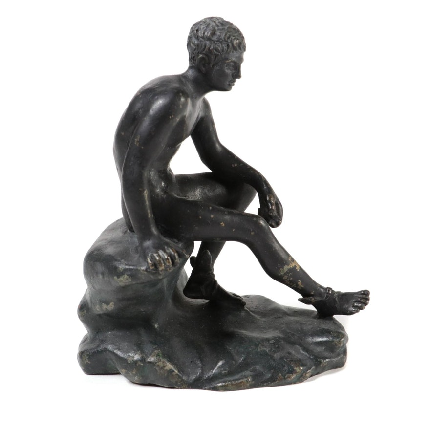 """Patinated Metal Reproduction Sculpture of """"Seated Hermes"""""""