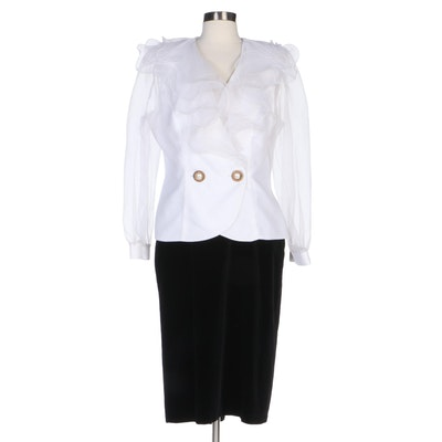 Algo White Ruffle Jacket and Blacky Dress Velveteen Skirt