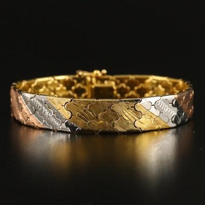 Sterling Silver Tri-Tone Link Bracelet