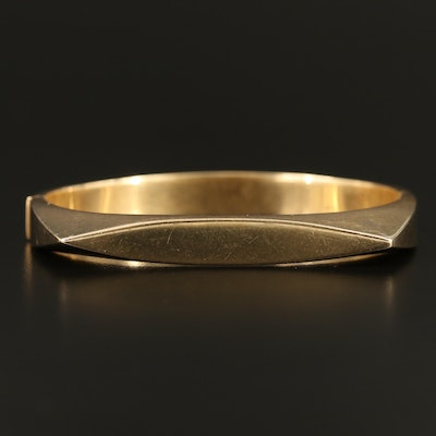 14K Rounded Square Hinged Bangle