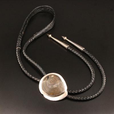 Linette Laiwakete Zuni Sterling Silver Ammonite Fossil Bolo Tie