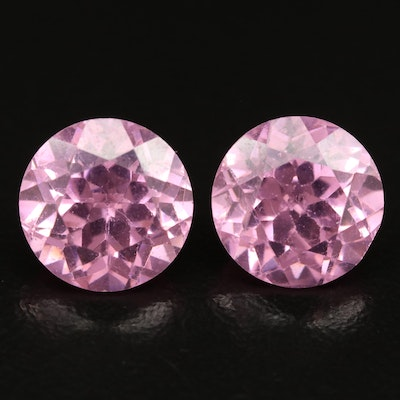 Matched Pair of Loose Round Faceted Cubic Zirconias