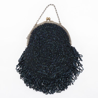 Blue Iridescent Beaded Looped Fringe Frame Purse with Kiss Lock Clasp, Vintage
