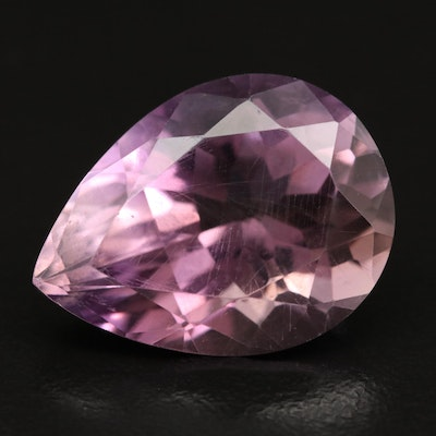 Loose 14.86 CT Pear Faceted Amethyst