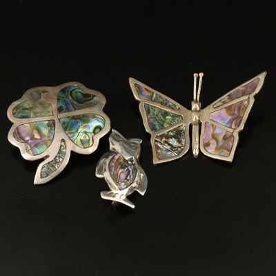 Mexican Abalone Brooches Featuring Sterling Silver Owl and Butterfly Designs