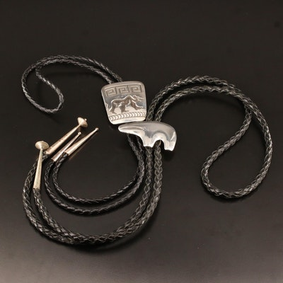 Rosco Scott Navajo Diné and Signed Sterling Silver Sandcast Bear Bolo Ties