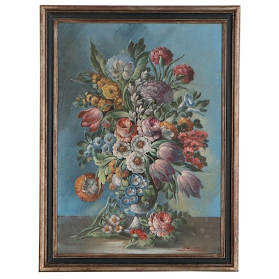 Italian School Style Floral Oil Painting, Mid 20th Century