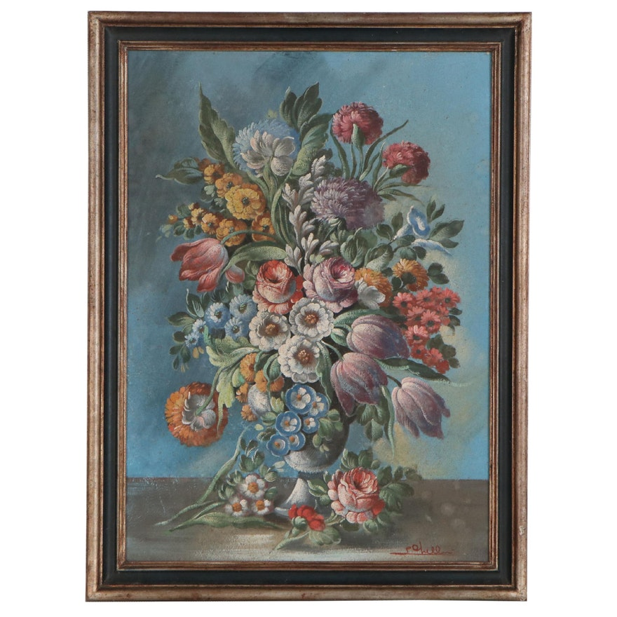 Italian School Style Floral Oil Painting, Mid 20th Century
