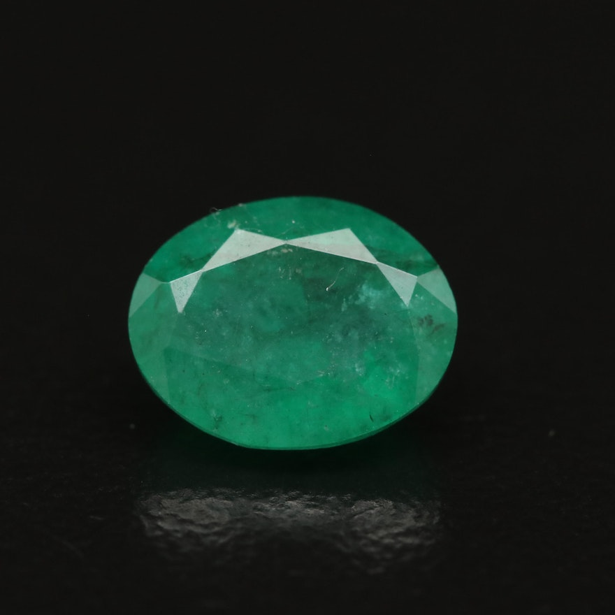 Loose 1.77 CT Oval Faceted Emerald